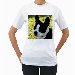 Boston Terrier Puppy Women s T-Shirt (White) (Two Sided)