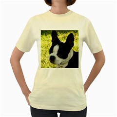 Boston Terrier Puppy Women s Yellow T-Shirt