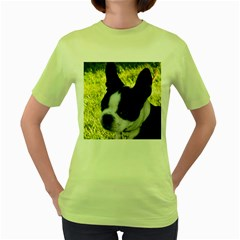 Boston Terrier Puppy Women s Green T-Shirt