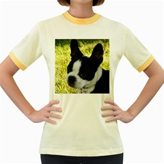 Boston Terrier Puppy Women s Fitted Ringer T-Shirts
