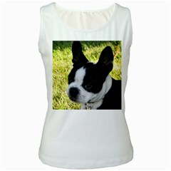 Boston Terrier Puppy Women s White Tank Top
