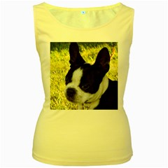 Boston Terrier Puppy Women s Yellow Tank Top