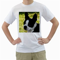 Boston Terrier Puppy Men s T-Shirt (White) (Two Sided)