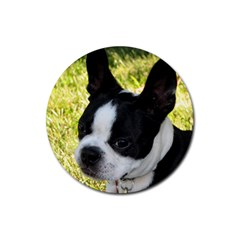 Boston Terrier Puppy Rubber Coaster (Round)