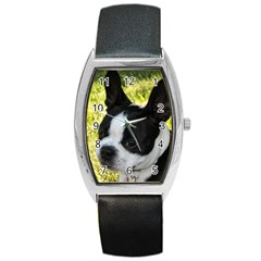 Boston Terrier Puppy Barrel Style Metal Watch