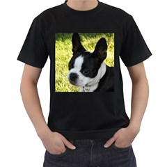 Boston Terrier Puppy Men s T-Shirt (Black) (Two Sided)