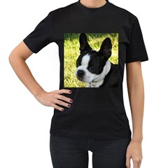 Boston Terrier Puppy Women s T-Shirt (Black) (Two Sided)
