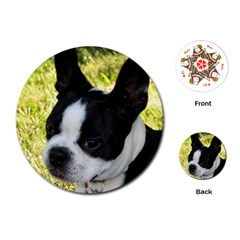 Boston Terrier Puppy Playing Cards (Round)