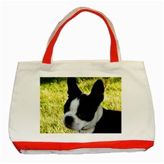Boston Terrier Puppy Classic Tote Bag (Red)