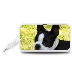 Boston Terrier Puppy Portable Speaker (White)