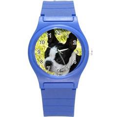 Boston Terrier Puppy Round Plastic Sport Watch (S)