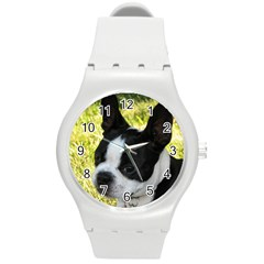 Boston Terrier Puppy Round Plastic Sport Watch (M)