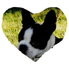 Boston Terrier Puppy Large 19  Premium Heart Shape Cushions