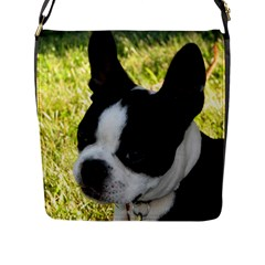 Boston Terrier Puppy Flap Messenger Bag (L)