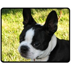 Boston Terrier Puppy Double Sided Fleece Blanket (Medium)