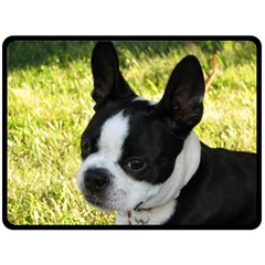 Boston Terrier Puppy Double Sided Fleece Blanket (Large)