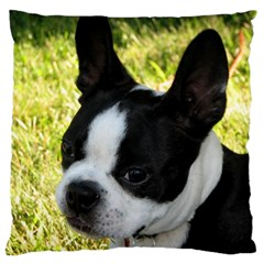 Boston Terrier Puppy Large Flano Cushion Case (Two Sides)