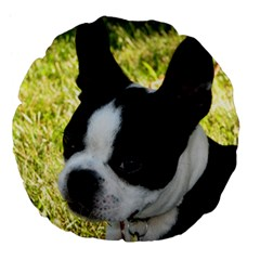 Boston Terrier Puppy Large 18  Premium Flano Round Cushions