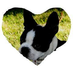 Boston Terrier Puppy Large 19  Premium Flano Heart Shape Cushions
