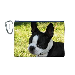 Boston Terrier Puppy Canvas Cosmetic Bag (M)