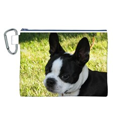 Boston Terrier Puppy Canvas Cosmetic Bag (L)