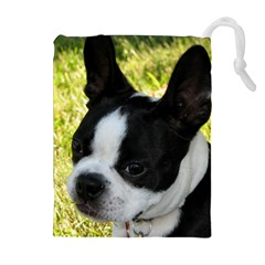 Boston Terrier Puppy Drawstring Pouches (Extra Large)