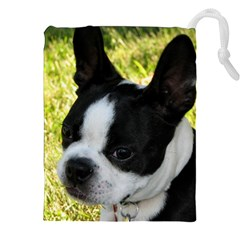 Boston Terrier Puppy Drawstring Pouches (XXL)