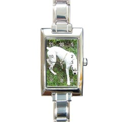 Boxer White Puppy Full Rectangle Italian Charm Watch