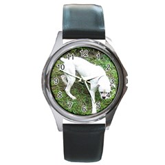 Boxer White Puppy Full Round Metal Watch