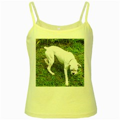 Boxer White Puppy Full Yellow Spaghetti Tank