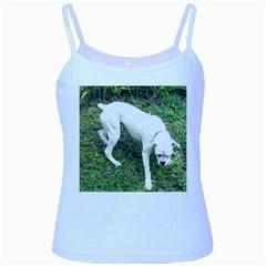 Boxer White Puppy Full Baby Blue Spaghetti Tank