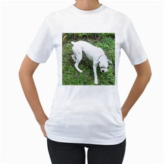 Boxer White Puppy Full Women s T-Shirt (White) (Two Sided)