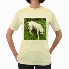 Boxer White Puppy Full Women s Yellow T-Shirt
