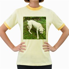 Boxer White Puppy Full Women s Fitted Ringer T-Shirts