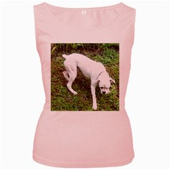 Boxer White Puppy Full Women s Pink Tank Top