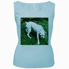 Boxer White Puppy Full Women s Baby Blue Tank Top