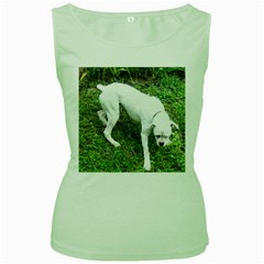 Boxer White Puppy Full Women s Green Tank Top
