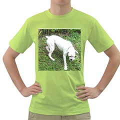 Boxer White Puppy Full Green T-Shirt