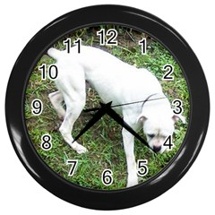 Boxer White Puppy Full Wall Clocks (Black)
