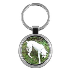 Boxer White Puppy Full Key Chains (Round)