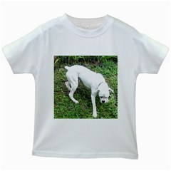 Boxer White Puppy Full Kids White T-Shirts