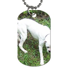 Boxer White Puppy Full Dog Tag (One Side)