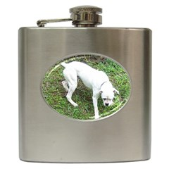 Boxer White Puppy Full Hip Flask (6 oz)