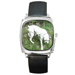 Boxer White Puppy Full Square Metal Watch