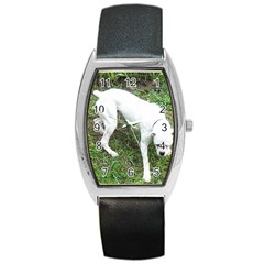Boxer White Puppy Full Barrel Style Metal Watch