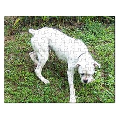 Boxer White Puppy Full Rectangular Jigsaw Puzzl