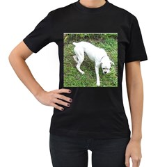Boxer White Puppy Full Women s T-Shirt (Black) (Two Sided)