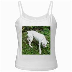 Boxer White Puppy Full Ladies Camisoles