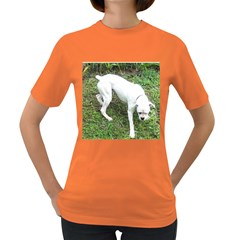 Boxer White Puppy Full Women s Dark T-Shirt
