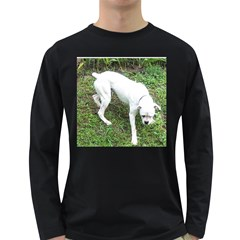 Boxer White Puppy Full Long Sleeve Dark T-Shirts